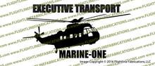 VH-3D Marine One Executive Transport Helicopter Profile Vinyl Die-Cut Sticker / Decal VSPVH-3DM1
