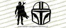 Star Wars Mandalorian FAN MADE Helmet and Silhouette Vinyl Die-Cut Sticker / Decal Set