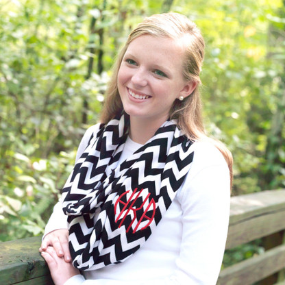 Monogrammed Chevron Infinity Scarf in Black & White