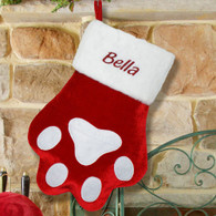 Personalized Red Paw Pet Christmas Stocking