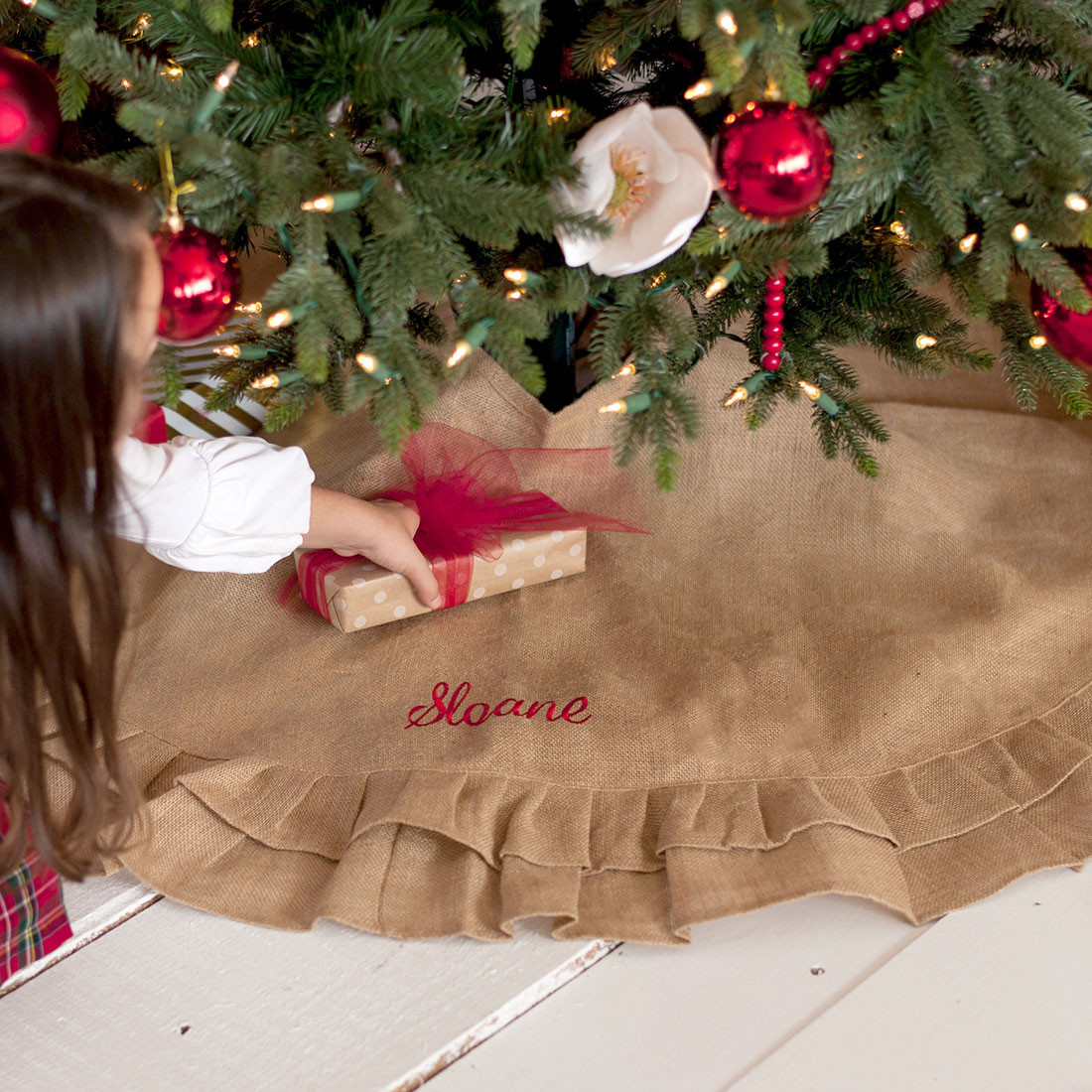 best sneakers 0762d 9772c Burlap Ruffle Rustic Christmas Tree Skirt