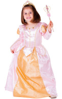 Pink Belle Ball Gown Princess Costume - Dress, Crown & Wand
