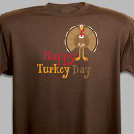 Happy Turkey Day - Personalized Thanksgiving T-Shirt in Brown