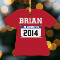 Born to Run Personalized Runner Bib Christmas Ornament - Marathon, Half, 10K, 5K