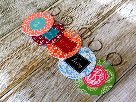 "Double Sided Personalized 2.25"" Round Key Chain"