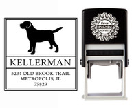 """Puppy Love"" Self-Inking Personalized Square Dog Design Address Stamp - CS3631"