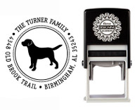"""Puppy Love"" Self-Inking Personalized Round Dog Design Address Stamp - CS3632"