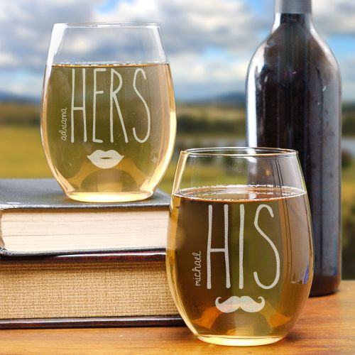 7b8a1d1b804 His & Hers Engraved Stemless Personalized Wine Glass Glasses Gift Set of 2.  Click to enlarge