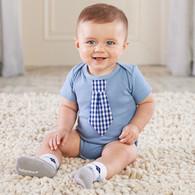 Little Man Bodysuit with Tie & Argyle Socks Gift Set
