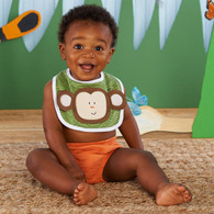 On Safari Set of 3 Baby Bibs - Jungle Monkey, Lion & Elephant - Baby Shower GIFT