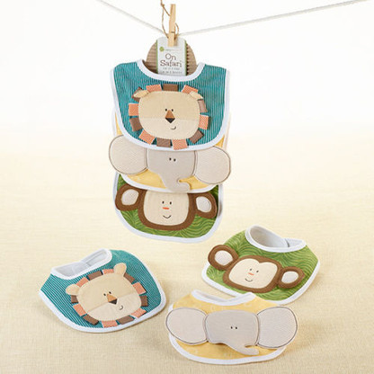 On Safari Set of 3 Baby Bibs - Jungle Monkey, Lion & Elephant - Baby Shower GIFT