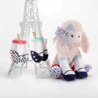 """Poodle Paws"" Plush Poodle Stuffed Animal & 2 sets of 0-6m Socks for Baby Shower Gift Set - Baby Aspen BA15036NA"