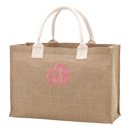 Rustic Burlap Tote Beach Bag Carry All Tote - Available Monogrammed