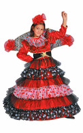 Flamenco Dancer Spanish Dress Up Costume - Gown, Head Flower, Fan & Belt