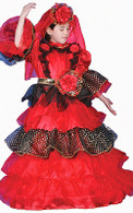 Spanish Dancer Flamenco Deluxe Dress Up Costume - Gown & Hat