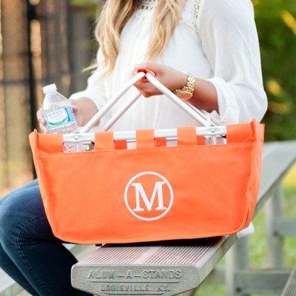 Orange Collapsible Market Tote with Embroidered Monogram