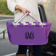 Purple Collapsible Market Tote with Embroidered Monogram