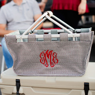 Personalized Houndstooth Collapsible Market Tote - Great for Tailgating!