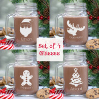 Set of 4 Christmas Design Personalized Mason Glass Jars