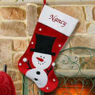 Personalized Happy Snowman Red Velvet Christmas Stocking