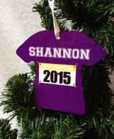 """I Love Running"" Custom Color Personalized Runner Bib Christmas Ornament"