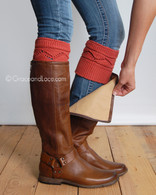 Rust Cable Knit Boot Cuffs