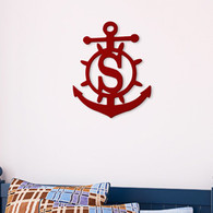 Anchor Single Initial Monogram - Unfinished Door Hanger or Wall Accent