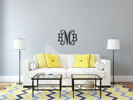 Monogram Wall Hanging Accent - Shown Painted Black