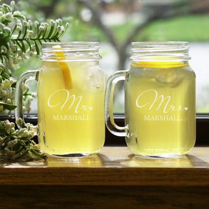 Mr. & Mrs. Personalized Mason Jars (set of 2)