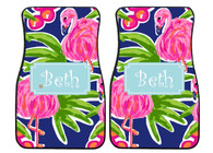 Pink Flamingo Preppy Personalized Car Mats (Set of 2)