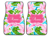 Pink Water Lilies Preppy Personalized Front Car Mats (Set of 2)