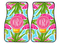 Pink Umbrella Tropical Drink Preppy Personalized Front Car Mats (Set of 2)