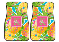 Tropical Pinapple Preppy Personalized Front Car Mats (Set of 2)