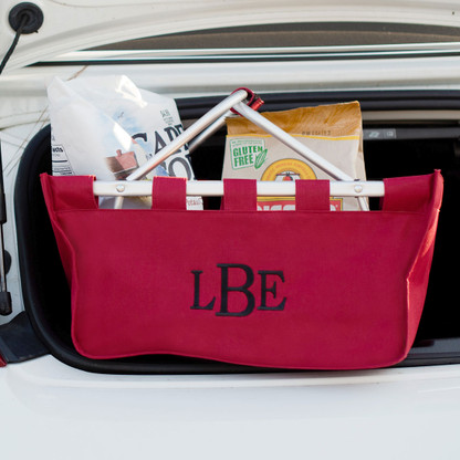 Garnet Market Tote with Embroidered Monogram