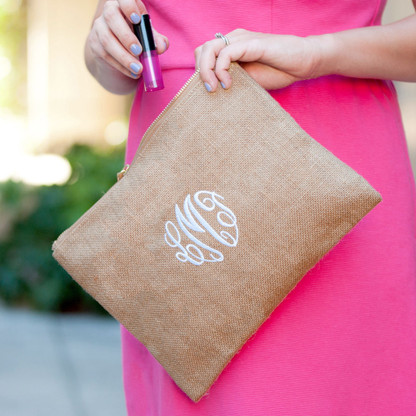 White Threaded Master Circle Monogrammed Burlap Pouch Cosmetic Bag 1
