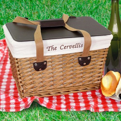 Personalized Picnic Basket -with Custom Embroidered  Name