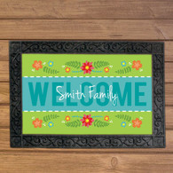Spring Flowers Welcome Mat Personalized Doormat, Floor or Door Mat