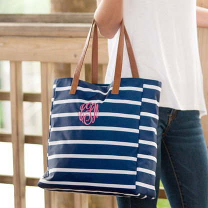 Navy Stripe Collection Tote
