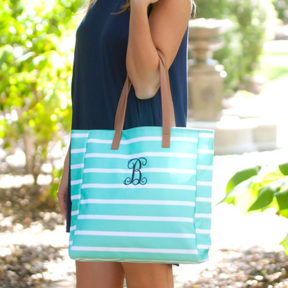 Mint Stripe Collection Tote with Embroidered Monogram