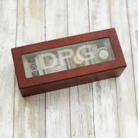 Engraved Initials Cherry Wood Watch Box