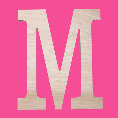 Block Single Initial Monogram Unfinished Wall Accent