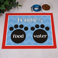 Food & Water Paw Print Pet Food Mat for Dog or Cat Personalized GIFT - Custom Floor Mat