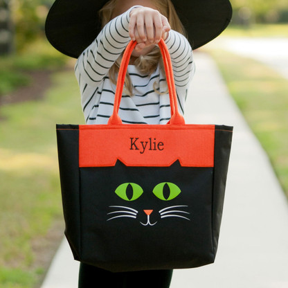 Personalized Black Cat Character Mini Tote Candy Bag