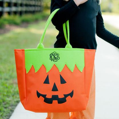 Monogram Jack-O-Lantern Mini Tote Candy Bag