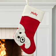 Personalized Smiling Dog Design Stocking