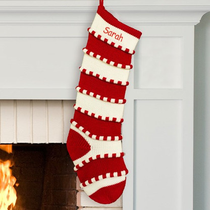Personalized White and Red Stripe Knit Stocking