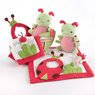 """Cute As a Bug"" 4 Piece Baby Gift Set - Bib, Rattle, Lovie & Plush Toy"
