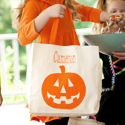 Personalized Jack-O-Lantern Canvas Halloween Tote Bag