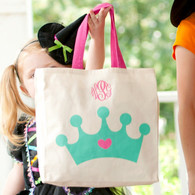 Monogram Princess Tiara Canvas Mini Tote Candy Bag