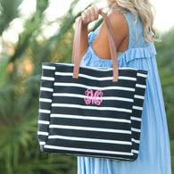 Black and White Stripe Collection Tote with Monogram
